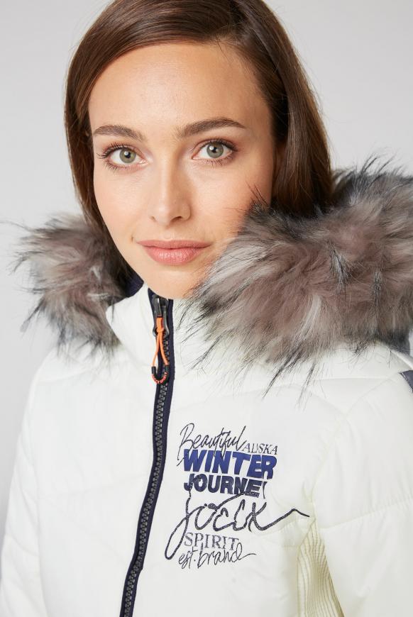 Winterjacke im Ski-Look mit Kontrastkapuze