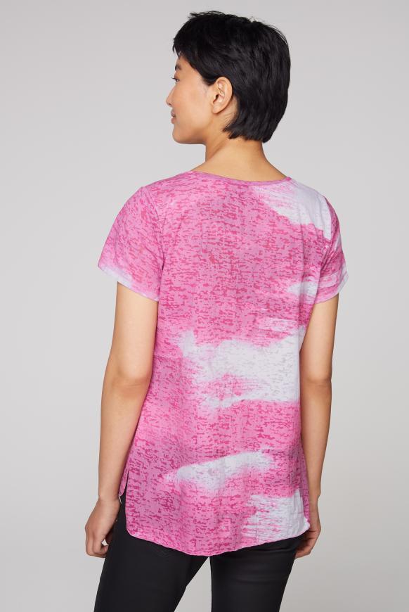 Ausbrenner-Shirt mit Print und Pailletten
