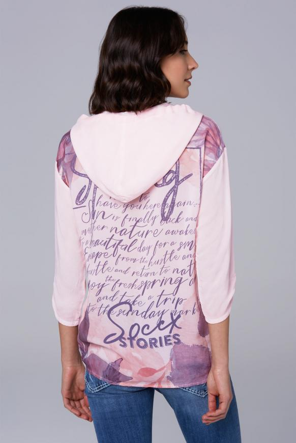 Bluse mit Kapuze und Back Print