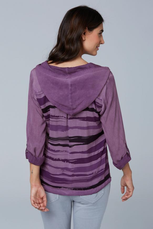 Bluse mit Kapuze und Streifenprint hinten