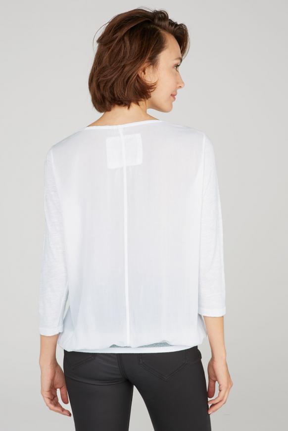 Blusenshirt mit Wording Print und Zipper