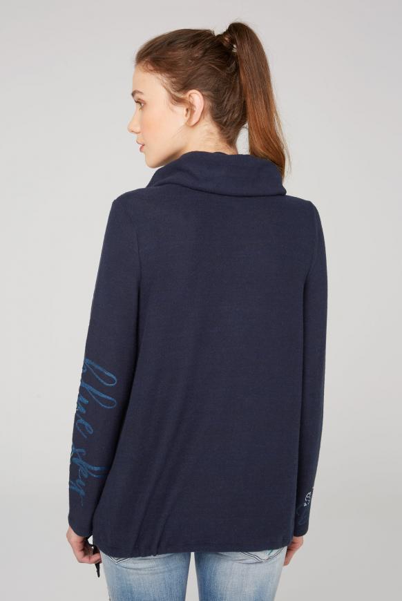Fleece-Pullover mit hohem Kragen und Glitter Prints