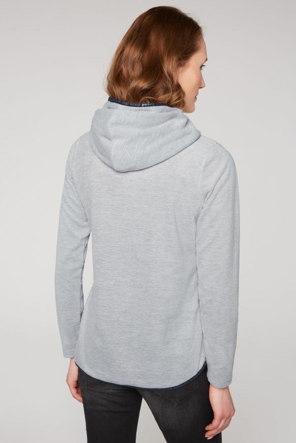 Fleeceshirt mit Kapuze und Coated Zipper