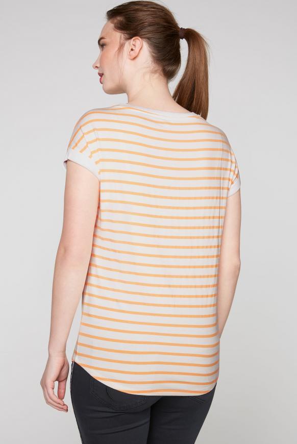 Fließendes Streifenshirt mit Frontprint