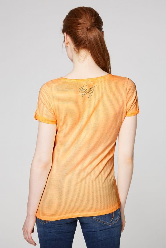 Gestreiftes Serafino-Shirt mit Label Prints