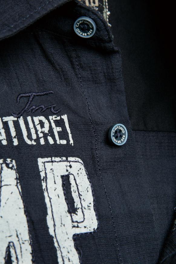 Hemd mit toniger Karo-Struktur und Artwork