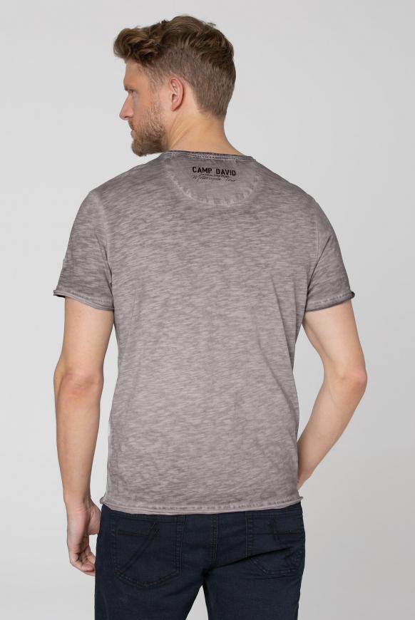 Henley-Shirt im Vintage Look mit Print