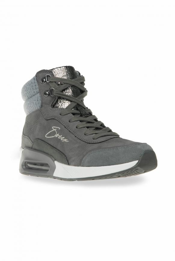 High Top Sneaker im Materialmix mit Logostick