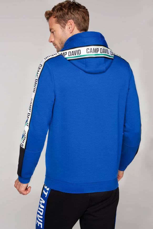 Hoodie mit Logo-Tapes und Colourblock
