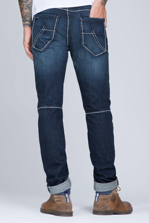 Jeans HE:RY mit Used-Optik und Biker-Elementen