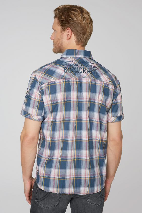 Karohemd mit Logo-Stickereien und Taschen