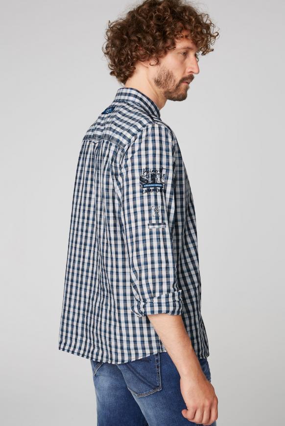 Kleinkariertes Langarmhemd mit Artworks