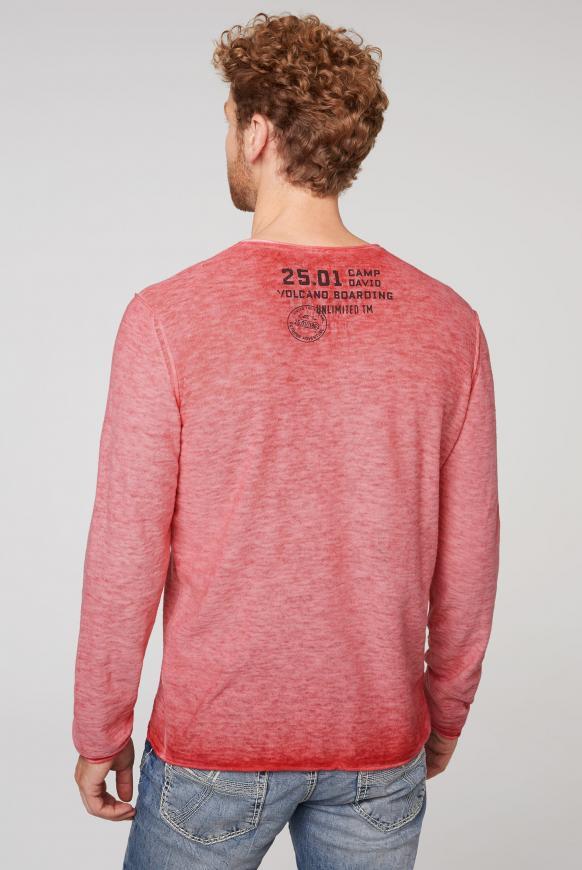 Leichter Pullover in Linksstrick mit Used Print