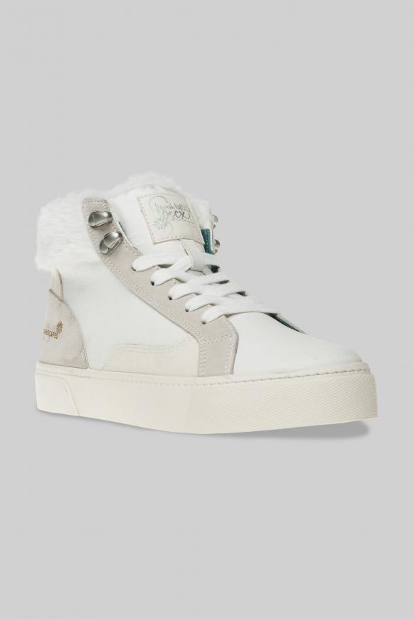 Plateau-Sneaker mit Kunstfellkragen