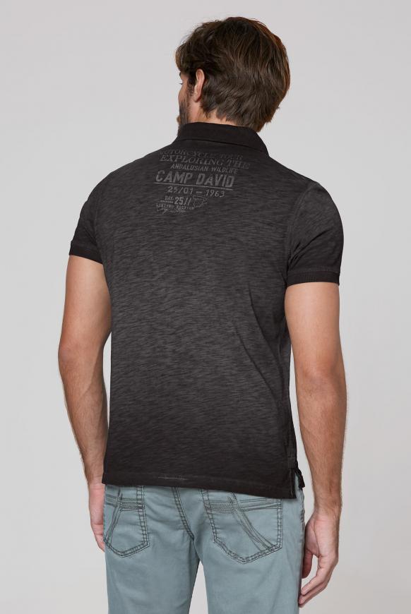 Poloshirt aus Flammgarn mit Used Prints