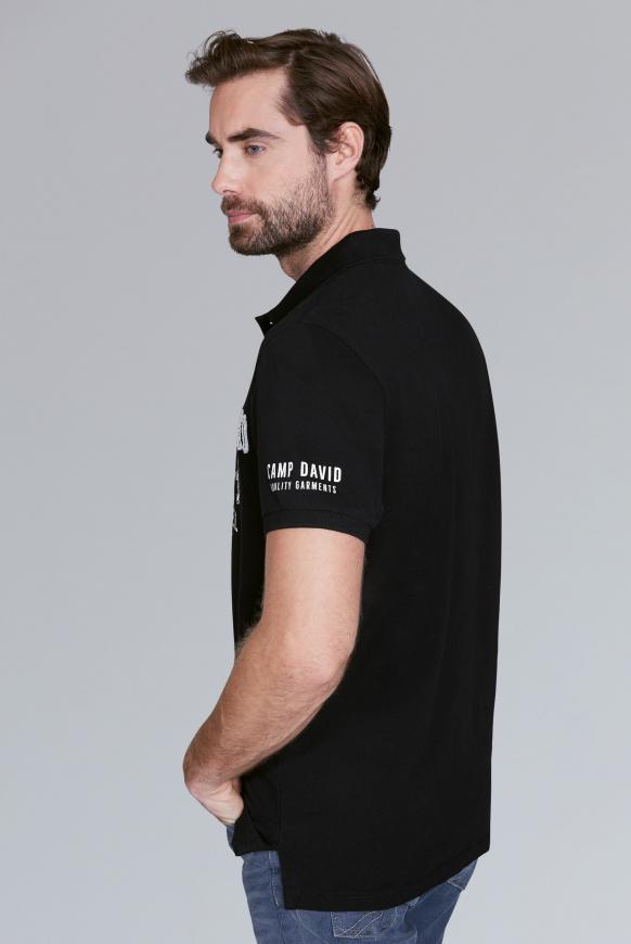 Poloshirt aus Pikee mit Logo-Applikationen