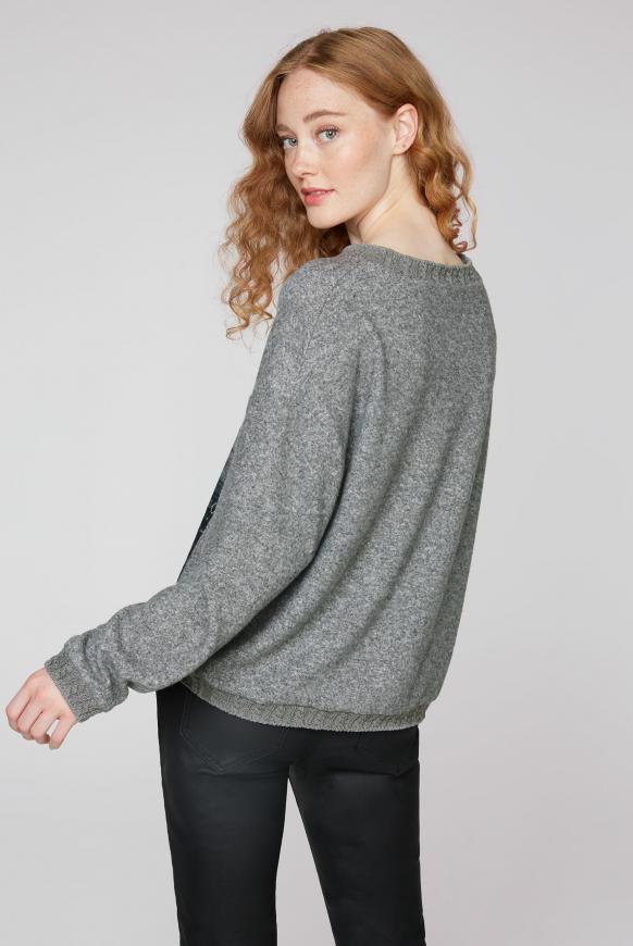 Pullover mit Foto- und Glitter-Print