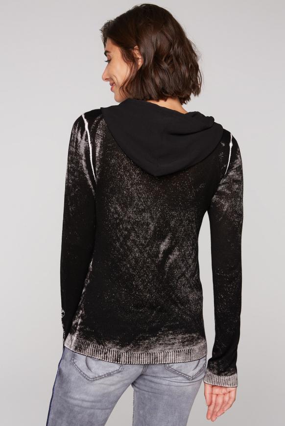 Pullover mit Innendruck, Kapuze und Artwork