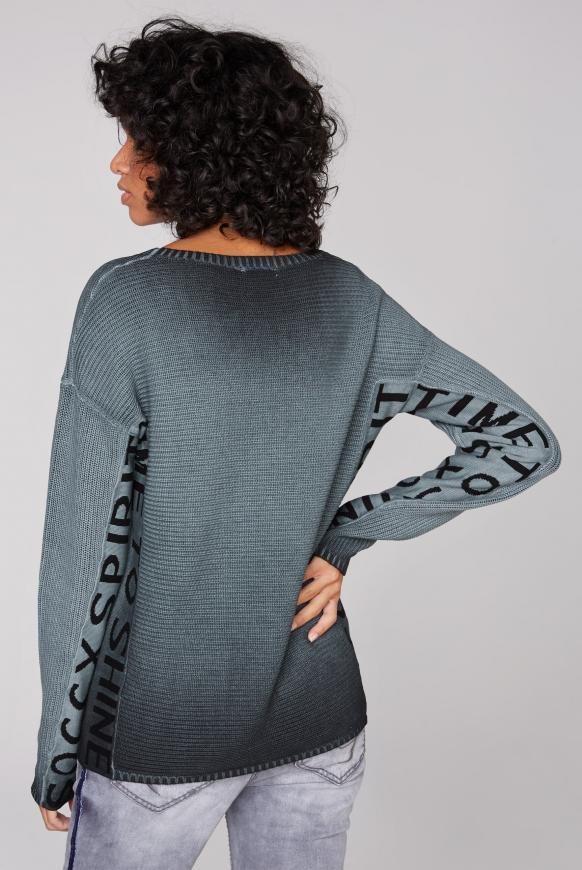 Stone Washed Pullover mit Logo Artwork