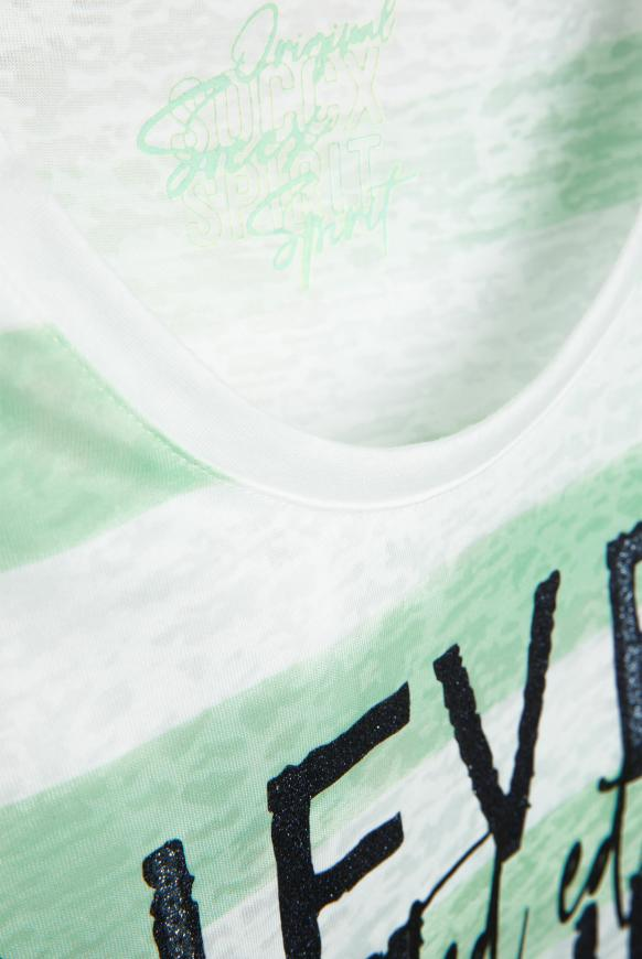 Streifenshirt mit Ausbrennern und Artwork