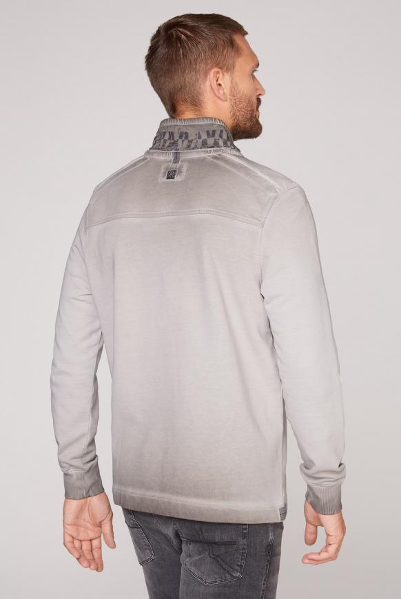 Sweatshirt mit Troyer-Kragen und Strick-Details