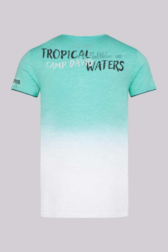 T-Shirt Dip Dye mit Prints und Used-Optik