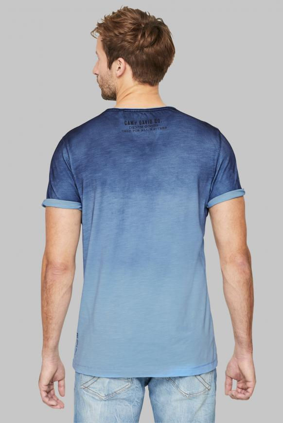 T-Shirt mit Dip-Dye-Effekt und Photoprint