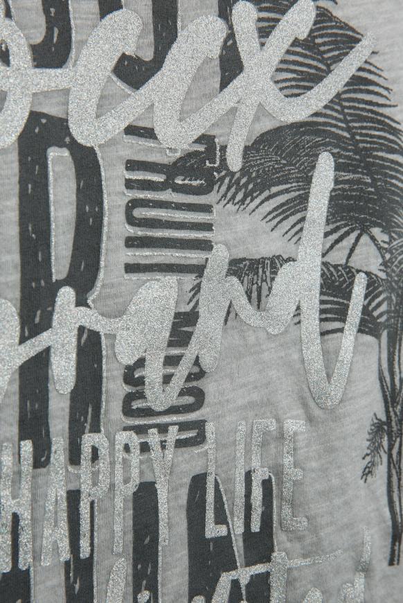 T-Shirt mit Label Print und Used Look