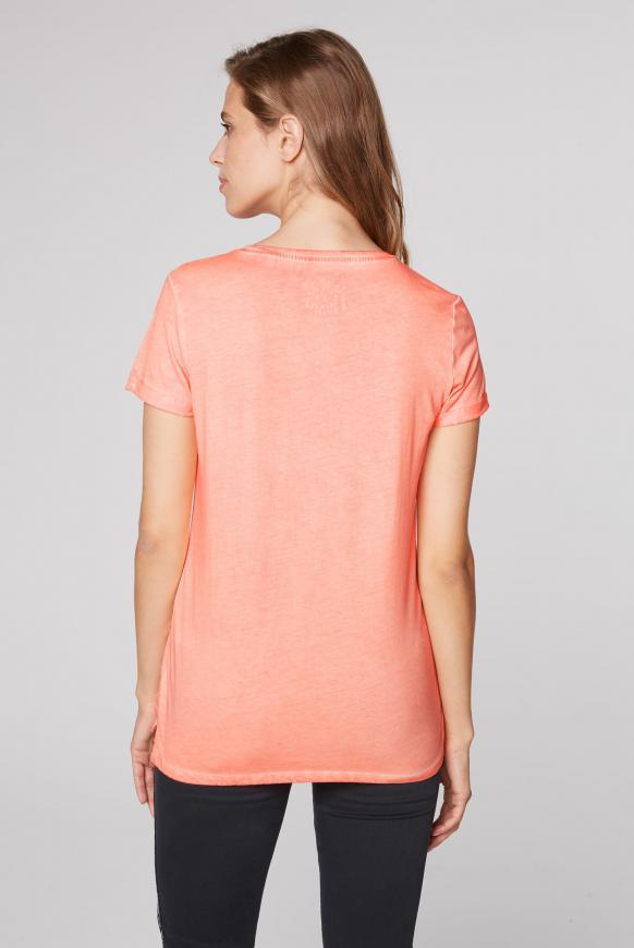 T-Shirt mit Print und Glitzersteinen