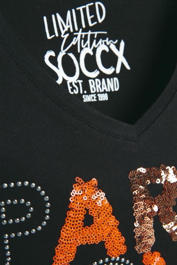 T-Shirt mit V-Neck und Pailletten-Wording