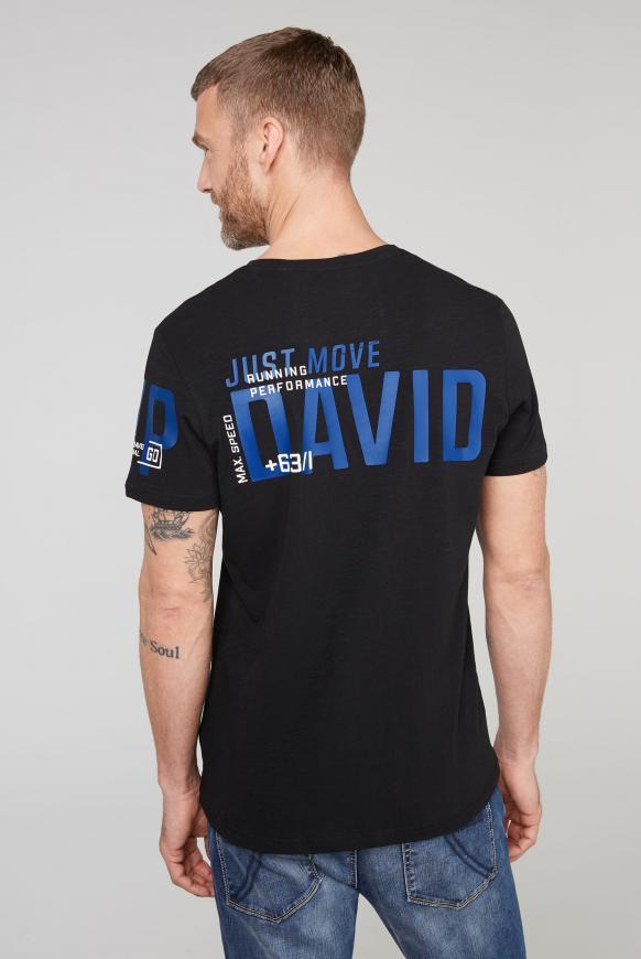 T-Shirt mit V-Neck und Print Artwork