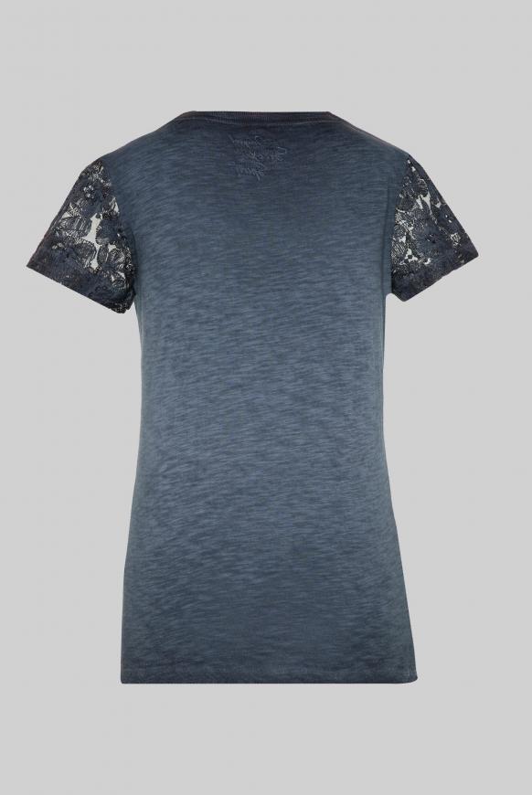 T-Shirt Oil Dyed mit Ärmeln aus Spitze