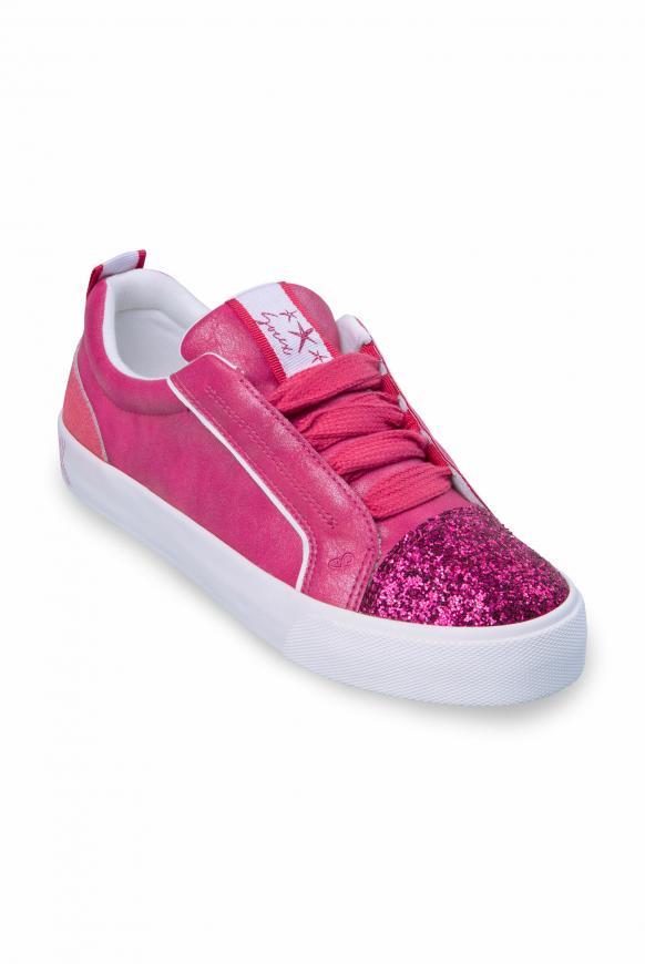 Veganer Plateau-Sneaker mit Glitterkappe