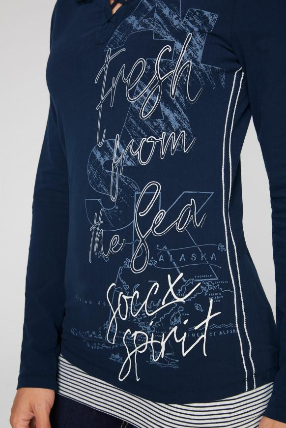 2-in-1 Serafino-Shirt mit Layering