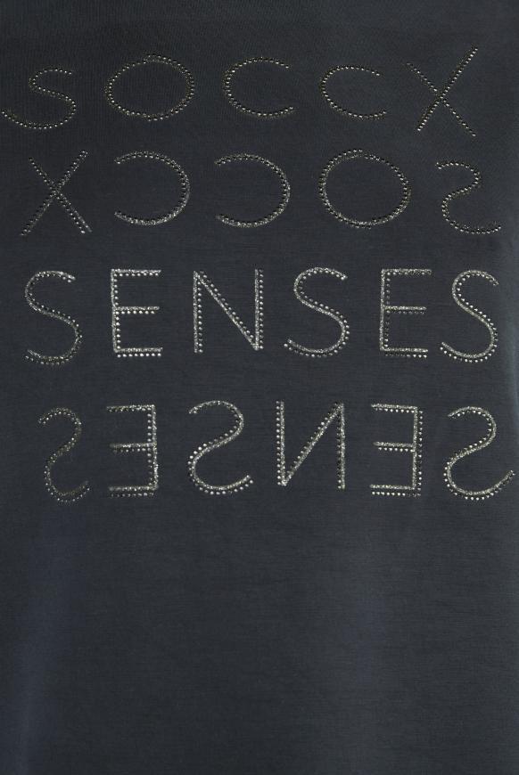 Boxy-Shirt mit Artwork aus Glitzersteinen