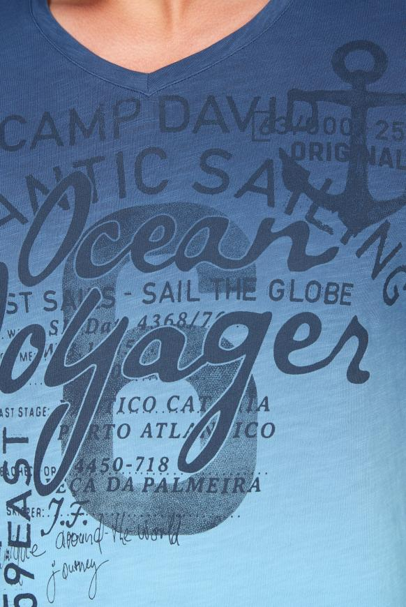 Dip Dye T-Shirt mit V-Neck und Print