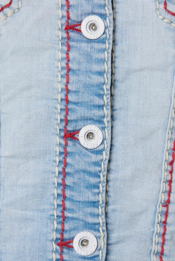 Gebleachte Jeansjacke LI:ND mit Kontrastnähten
