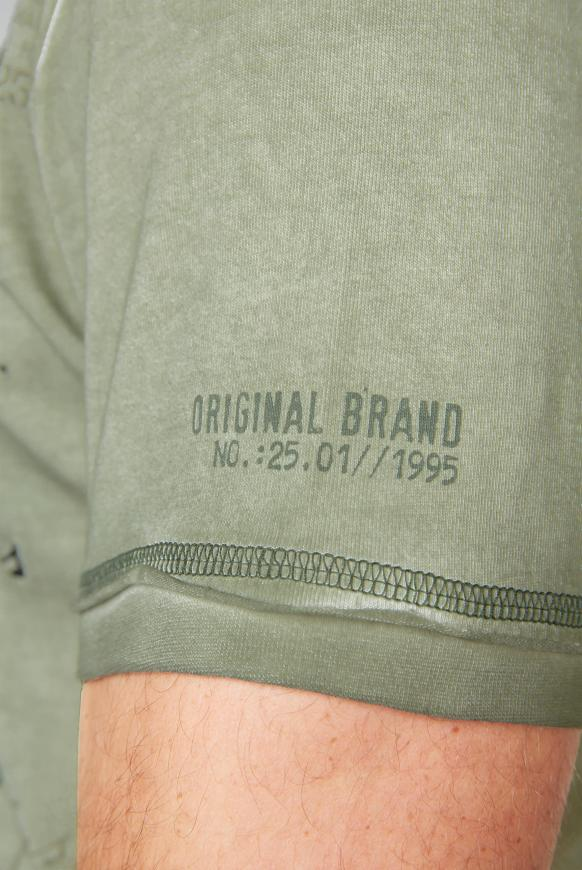 Henley-Shirt Oil Dyed mit Artwork