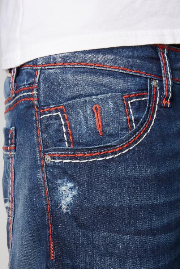 Jeans RO:BI mit bunten Nähten und Used Look