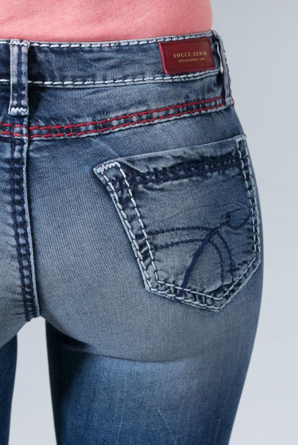 Jeans RO:MY mit geradem Bein und Used Look