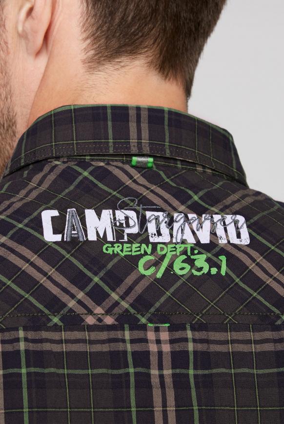 Kariertes Langarmhemd mit Crinkle-Effekt