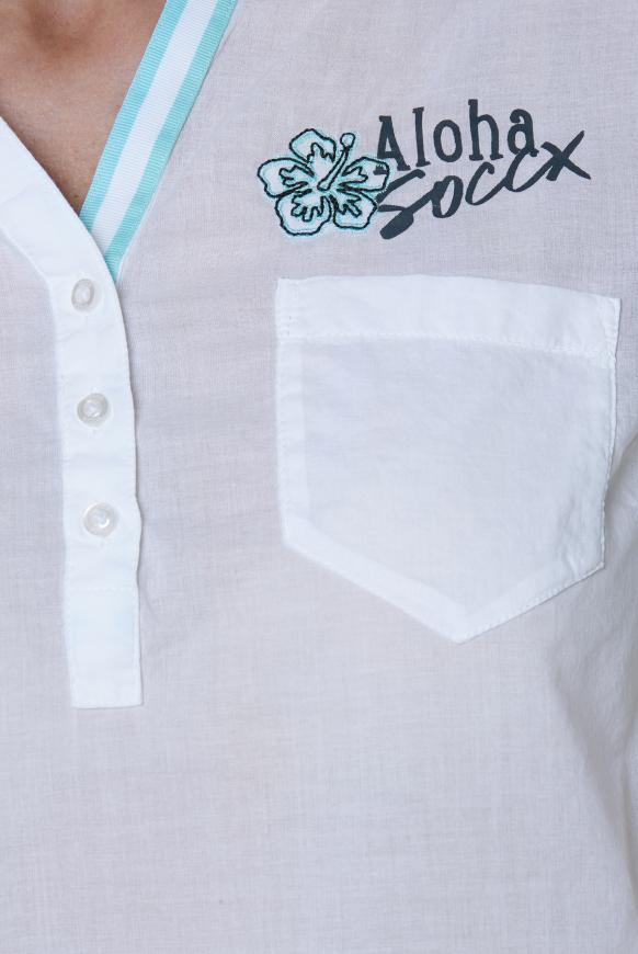 Kurzarmbluse mit großem Rücken-Print