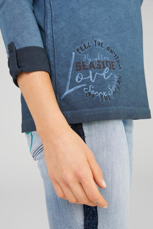 Langarmshirt mit hohem Logo-Kragen