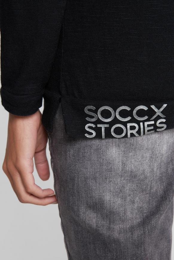Langarmshirt mit Rubber Prints und Tasche