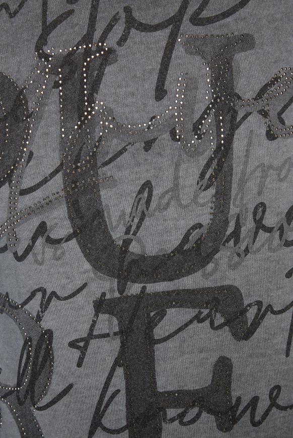 Langarmshirt mit Schriftzug und Glitzersteinen
