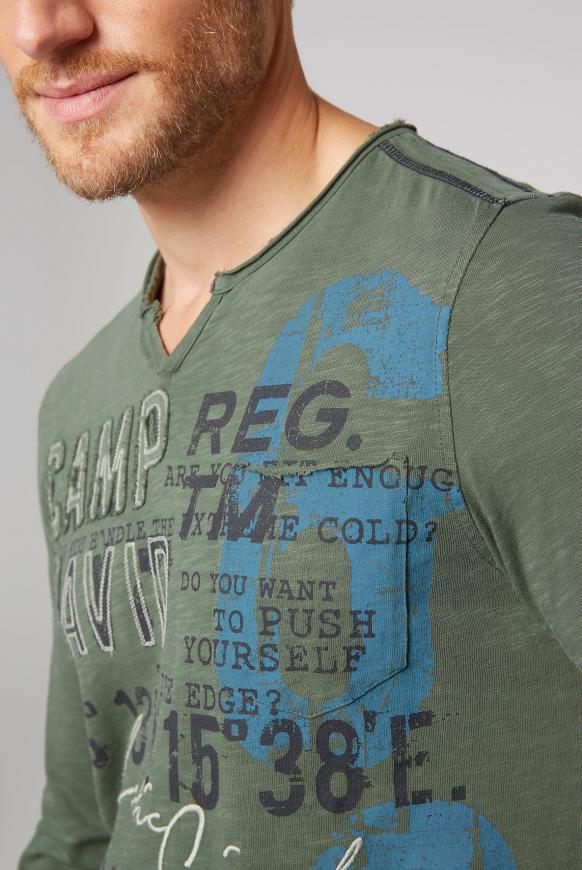 Langarmshirt mit Used-Optik und Artwork