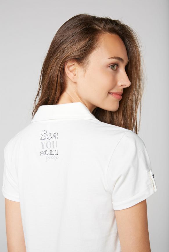 Poloshirt mit glitzerndem Wording Print