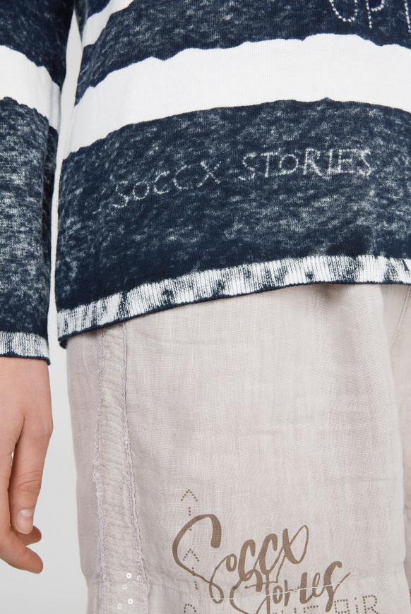 Pullover mit V-Ausschnitt und Acid Print