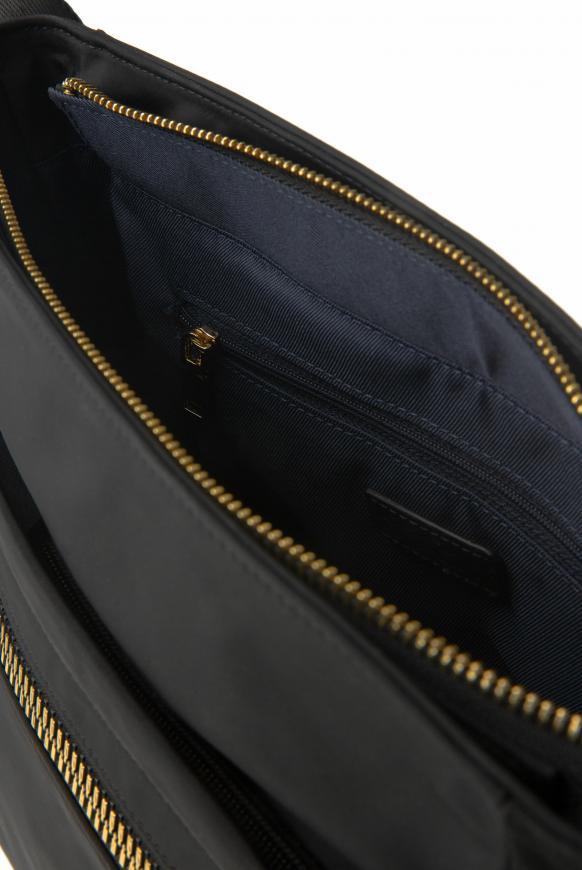 Schultertasche aus Nylon mit Zipper-Fächern