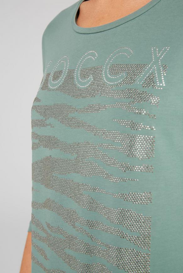 Shirt mit Logo Artwork aus Glitzersteinen